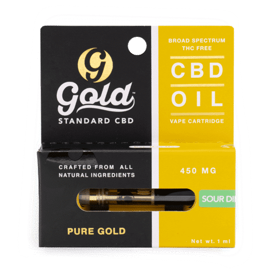 Gold Standard CBD Vape Cartridge - 450mg strength. Sour Diesel. Gold Standard CBD near me. CBD near me