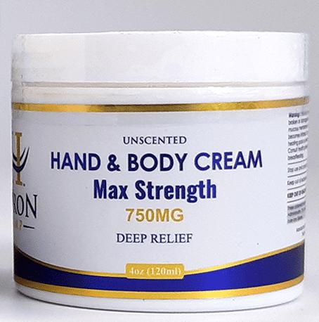 Huron Hemp Hand & Body Cream 750mg Maximum Strength. Unscented. Moisturizing, pain relief, and hydration