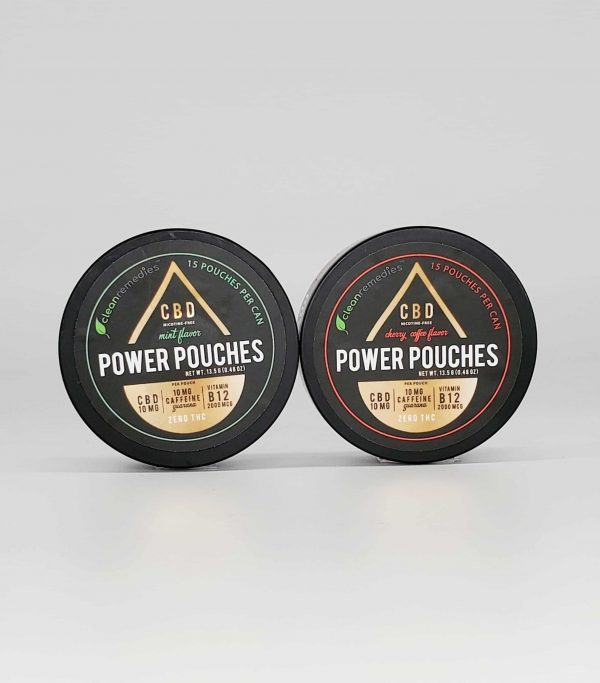 Clean Remedies CBD Power Pouches. Packed with Vitamin B12, Guarana, and CBD. Flavor choice of mint or cherry coffee. 10mg CBD per pouch