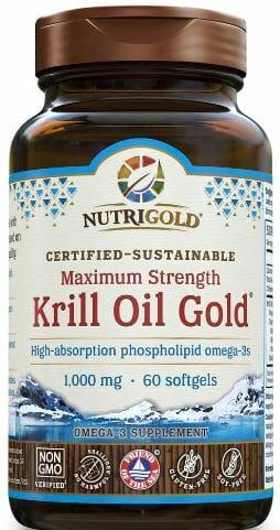 Nutrigold Kril Oil Gold. Maximum Strength 1,000mg. High-absorption phospholipid omega-3s