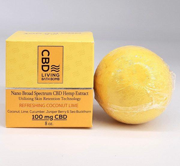 CBD Living - Extra Large 100mg CBD Bath Bomb. Coconut Lime