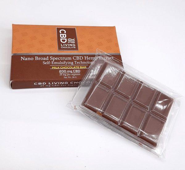 CBD Living - Chocolate Bar - 200mg. Milk Chocolate