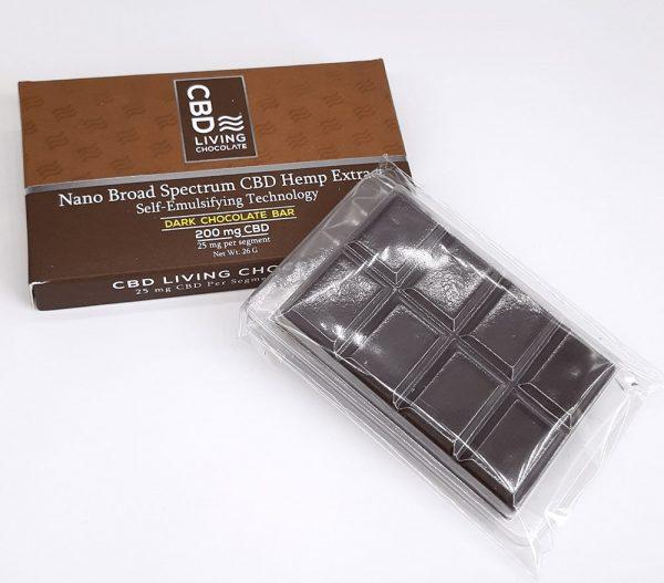 CBD Living - Chocolate Bar - 200mg. Dark Chocolate.