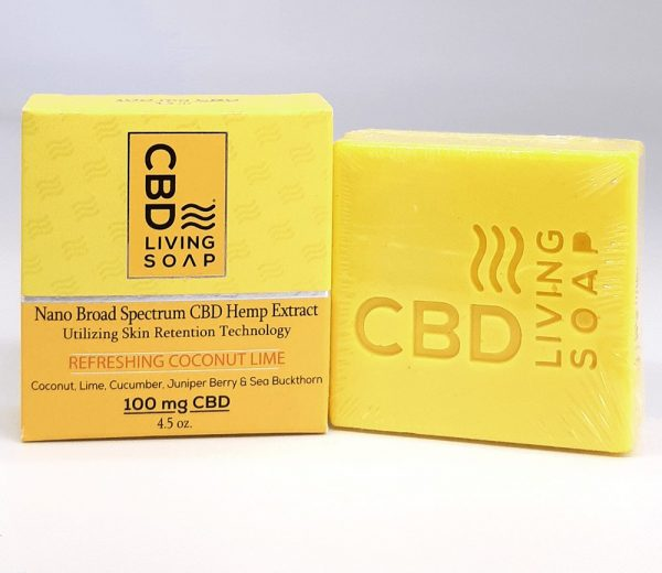 CBD Living Soap - 100mg CBD Bath Soap. Coconut Lime