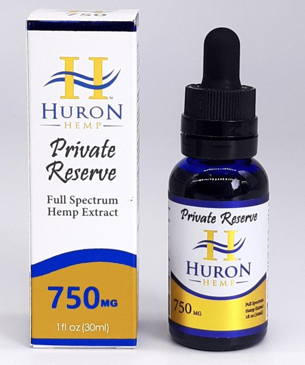 Huron Hemp Private Reserve Full Spectrum 750mg oil. Comes in Peppermint and Natural.