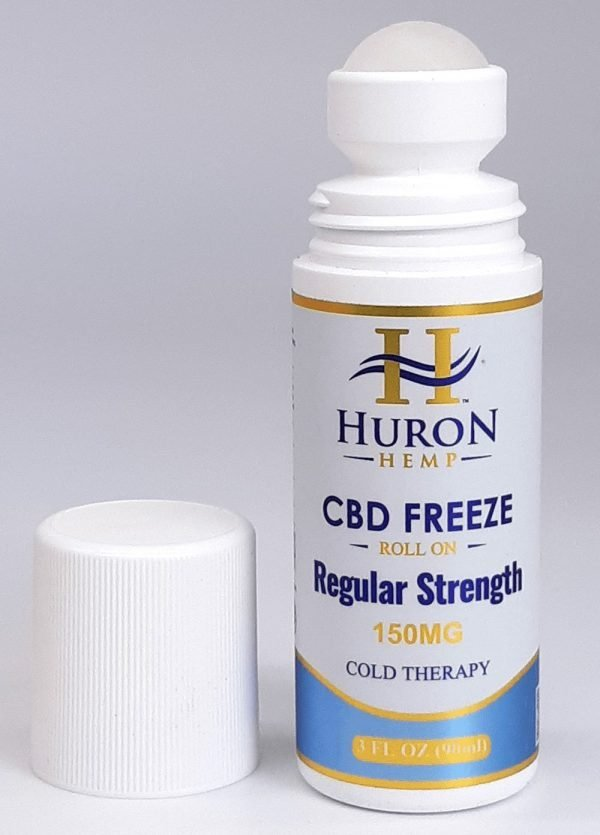 Huron Hemp CBD Freeze Roll On 150mg Regular Strength. Cold therapy mixed with menthol for fast cooling relief