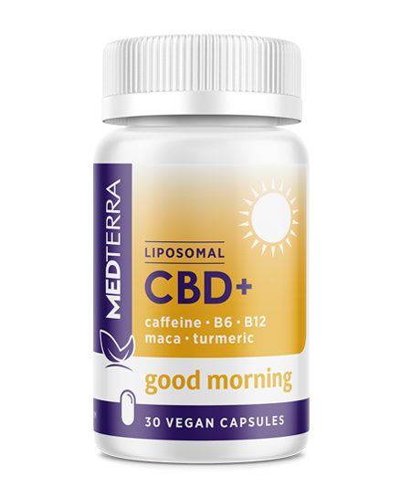 Medterra CBD Good Morning Capsule. Combines the energizing boost of caffeine, B6, and B12 with 25mg CBD, L-Tyrosine, and L-Theanine to give mental clarity throughout the day. Relief from anxiety, inflammation, PTSD, and Pain. Medterra CBD near me. CBD near me.