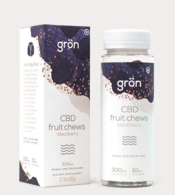 Grön CBD Fruit Chews are blackberry flavored broad spectrum CBD gummies to help relax day to day stresses.
