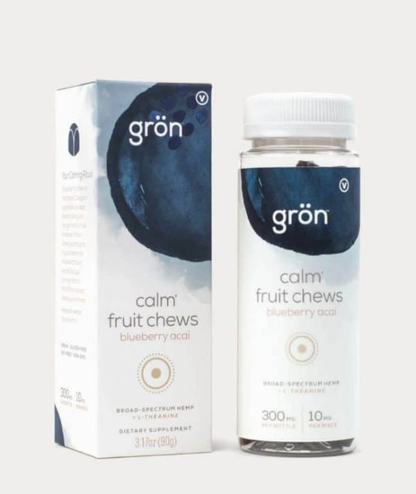 Grön Calm Fruit Chews are blueberry acai flavored board-spectrum CBD Gummies mixed with L Theanine to help calm the body