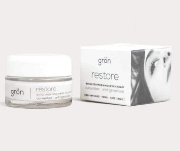 Grön brighter morning eye cream combines CBD with cucumber and wild geranium to help restore brighter, better looking skin around your eyes.