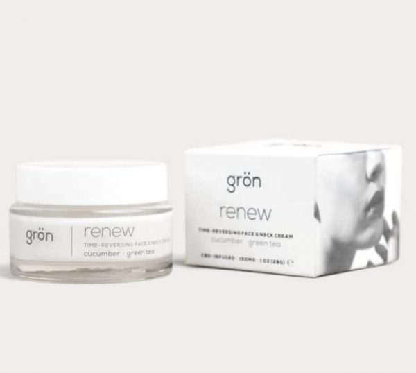 Grön Time reversing face & neck cream contains cucumber, green tea, and CBD, to help renew your skin