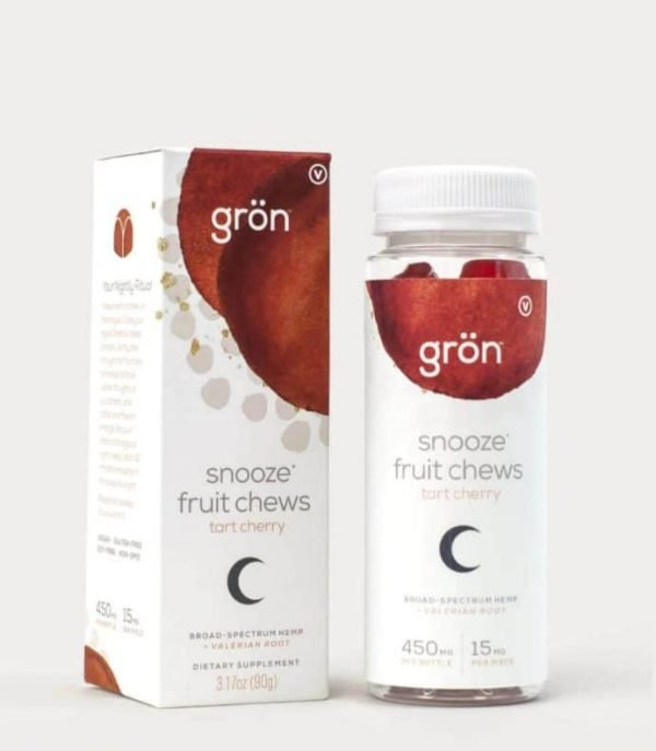 Grön CBD Snooze Fruit Chews, Tart cherry flavored mixing broad-spectrum hemp with valerian root to help you not only fall asleep, but also stay asleep.