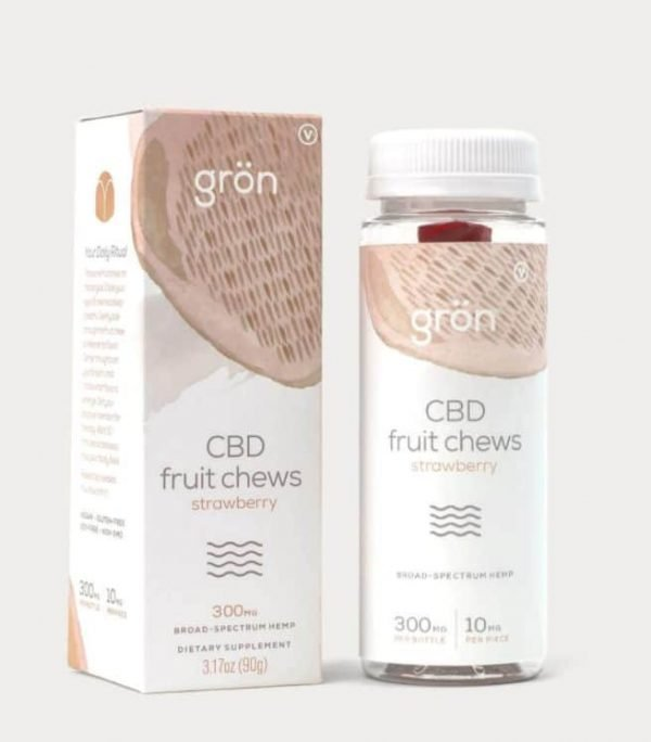 Grön Strawberry CBD Fruit Chews are strawberry flavored broad spectrum CBD gummies to help decrease anxiety and stress on a day to day basis.